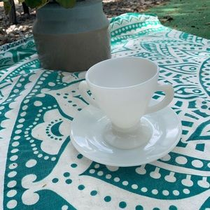 Antique milk glass tea cup and saucer! Great!